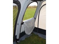 Dorema Futura Air All Season awning from the inside, with one of the door in front panels zipped down