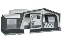 Dorema President 250 awning with the optional tall annexe fitted