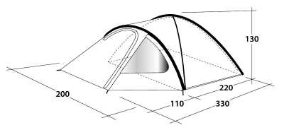 Technical Illustration of Outwell Cloud 3 Poled Tent