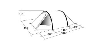Technical Illustration of Outwell Earth 2 Poled Tent