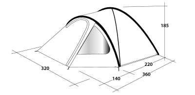Technical Illustration of Outwell Cloud 5 Poled Tent