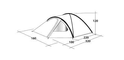 Technical Illustration of Outwell Cloud 2 Poled Tent
