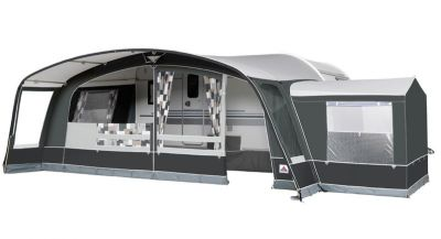 Dorema Grande Octavia caravan awning with optional tall annexe fitted
