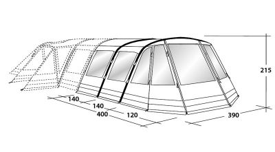 Hornet 6SA tent inflatable awning dimensions (cost option)
