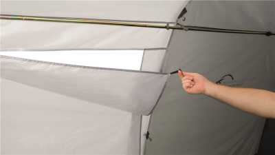 Easy Camp Motor Tour Wimberly Awning features toggle-up curtains over the windows