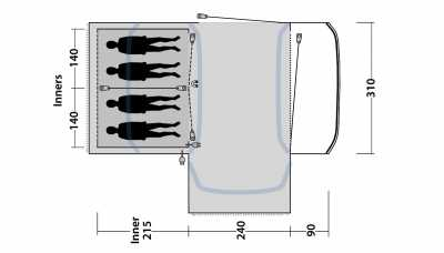 Technical Illustration of Outwell Hartsdale 4 Prime AIR Tent