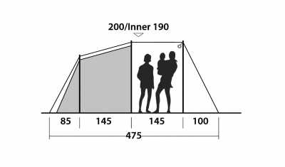 Technical Illustration of Outwell Dash 5 Poled Tent