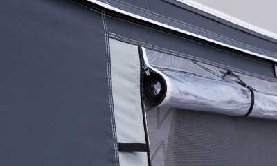 Mosquito net window with zipped external cover in Ventura Pacific Full caravan Awning