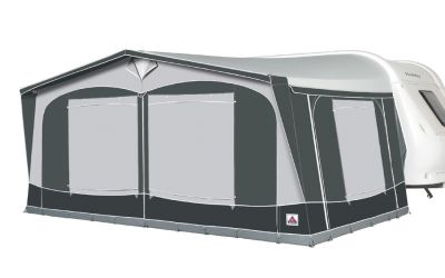Dorema President XL awning with window blinds closed