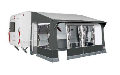 Dorema Quattro 430 caravan porch awning, suitable for seasonal and winter use.