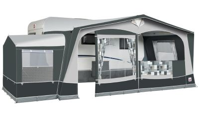 Dorema President XL300 awning with the optional tall annexe fitted