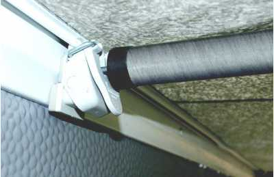 FixOn mechanism with inserted IXL fibreglass roof pole