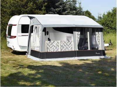 Isabella Universal Dawn with the front panel folded down on the veranda pole