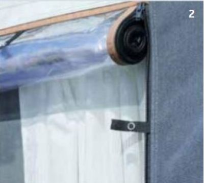 Mosquito nets and foil cover in side panel windows