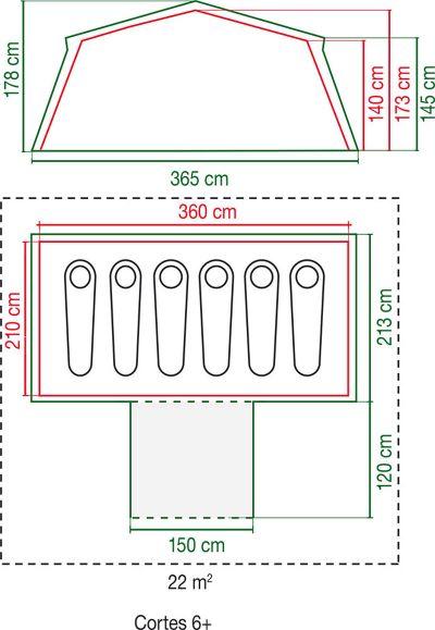 Coleman Cortes 6 Plus tent dimensions